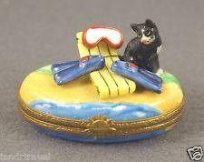 NEW FRENCH LIMOGES BOX CUTE BLACK TUXEDO KITTY CAT KITTEN ON TROPICAL BEACH