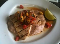 """Jose Enrique Restaurant, Puerto Rico - grilled swordfish over """"malanga"""" mash topped with pineapple"""