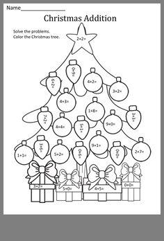 Christmas Worksheets, Kids Math Worksheets, Christmas Math, Math Resources, Math For Kids, Fun Math, Math Games, Teaching Activities, Teaching Math