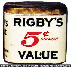 Tin litho 50 count cigar can (Rigby Cigar Co., Mansfield, Ohio). Sold at: Wm Morford Antiques Looking to Buy or Sell? Contact: Antique Advertising LLC