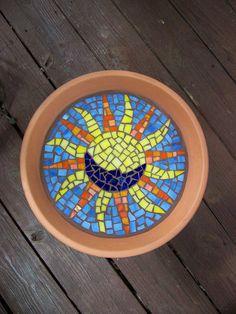 Mosaic birdbath by Meaco's Art Garden, via Flickr