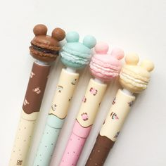 Mickey Mouse Doughnut Gel Pens – Erasable – Blue Ink – Disney Inspired – Dessert Pastry Themed – Cute Kawaii School Supplies - Home School Stationary School, Cute Stationary, School Stationery, Kawaii Stationery, Stationary Store, Kawaii Pens, Kawaii Cute, Disney Pens, Mickey Mouse