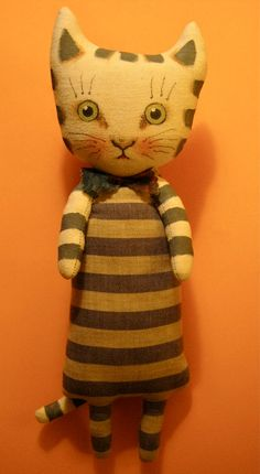 cat art doll linen dress hand painted linen by sandymastroni, $54.00