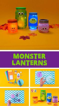 Make your favorite monsters from Super Simple Songs. These upcycled lanters are perfect for a little glow on Halloween night or at a monster-themed birthday party. Craft Projects For Kids, Craft Activities For Kids, Preschool Crafts, Halloween Kids, Halloween Crafts, Halloween Night, Upcycled Crafts, Easy Crafts, Monster Crafts