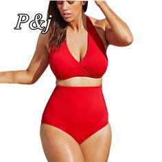 P & j新しい女性レトロ水着女の子ビキニセットセクシーなハイウエスト水着水着セクシーなビキニ下着l-xxxl