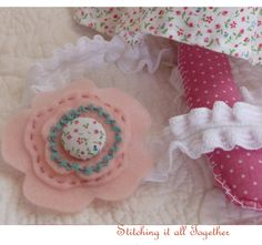 Felt Pink Flower Button Headband by stitchingitalltogether on Etsy