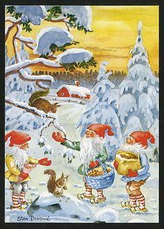 Old Christmas, Beautiful Christmas, Vintage Christmas, Christmas Cards, Baumgarten, Elves And Fairies, Cute Fairy, All Holidays, Goblin