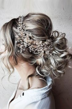 30 Perfect Bridal Hairstyles For Big Day Party ❤ bridal hairstyles grey hair with halo morganhairco ❤ See more: http://www.weddingforward.com/bridal-hairstyles/ #weddingforward #wedding #bride #bridalhairstyles