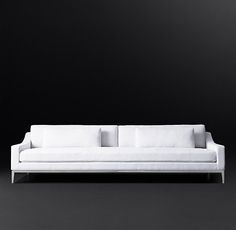 """Italia Slope Arm Fabric Sofa  DIMENSIONS  Lengths: 6', 7', 8', 9', 10'  Depths: Petite 37"""", Classic 41"""", Luxe 45""""  Height: 32½""""  Frame Height: 27""""  Seat Height: 19¼"""""""