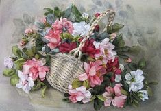 Wonderful Ribbon Embroidery Flowers by Hand Ideas. Enchanting Ribbon Embroidery Flowers by Hand Ideas. Types Of Embroidery, Learn Embroidery, Silk Ribbon Embroidery, Hand Embroidery Patterns, Embroidery Art, Embroidery Designs, Ribbon Art, Diy Ribbon, Ribbon Crafts