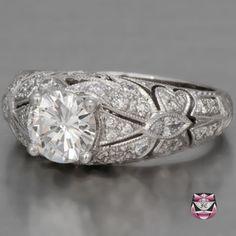 inset diamond engagement rings | ... Nouveau Jewelry - Art Nouveau Rings - Engagement Ring GIA 0.93ct F/VS2