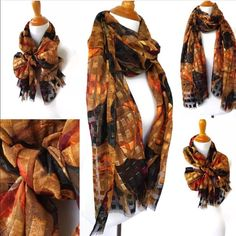 Brown Plaid Scarf Spring Silky Women's Scarves Handmade, unique scarf by ITB Design. Follow us for our fashion and style tips on how to wear and tie scarves for any season. Check out the scarves and be inspired.  * Soft viscose, lightweight.  * Available in regular finish.  *Measurements: Approximate Length: 73 inches [185 cm] Width: 28.5 inches [68 cm]  *Material: Crafted from polyester bland ITB Design Accessories Scarves & Wraps