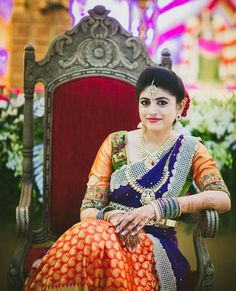 Purple and orange silk kanchipuram sari.Braid with fresh jasmine flowers. Indian Bridal Lehenga, Indian Bridal Wear, Indian Wear, Traditional Indian Wedding, Traditional Dresses, South Indian Bride, Kerala Bride, Half Saree Lehenga, Indian Wedding Fashion