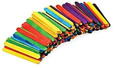 """Durable, Strong & Non-Toxic {2"""" x .13"""" Inch} 150 Bulk Pack of Mini Multi-Purpose Craft Sticks for DIY, Food, Beauty & More, Made of Baltic Birch Wood w/ Rainbow Stained Style {Assorted Colors}"""