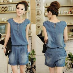 Aliexpress.com : Buy 2013 New Fashion Style Women's 2013 summer women's casual set denim jumpsuit short trousers  In Summer on Erica Pacheco's store. $16.54