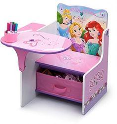 Disney Princess Chair Desk with Storage Bin Pink Table Children Furniture Girls Kids Bedroom Designs, Kids Room Design, Design Desk, Princess Chair, Diy For Kids, Crafts For Kids, Storage Chair, Kids Sofa, Baby Alive Dolls