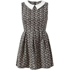 Mela Black Abstract Print Collared Skater Dress ($20) ❤ liked on Polyvore featuring dresses, vestidos, cinched-waist dress, no sleeve dress, sleeveless skater dress, lip print dress and lips dress