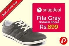 Snapdeal #DealofTheDay is offering 63% off on Fila Gray Sneaker Shoes at Rs.899. Upper Material: Synthetic Leather, Sole Material: Rubber. The Fila way teaches you to love winning but also inspires you take defeat in same manner knowing that you learnt what not to do for victory. With a history of excellence and legacy in craftsmanship of more than 100 years,   http://www.paisebachaoindia.com/fila-gray-sneaker-shoes-63-off-at-rs-899-snapdeal/
