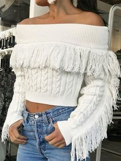 1eb3b0052d Off Shoulder Tassel Slim Short Sweater Crop Top Cropped Sweater Outfit