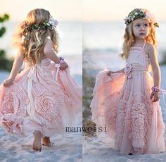 Lovely Tutu Pink Flower Girl Dresses Tulle Custom Flowers Birthday Party Gown #Dress