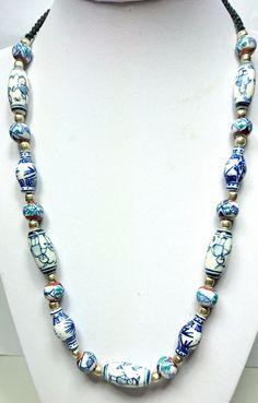 Blue and White ceramic beaded necklace - KAH Jewellery Design Chinese Ceramics, Ceramic Beads, White Beads, Craft Work, Simply Beautiful, White Ceramics, Boho Fashion, Beaded Necklace, Jewelry Design