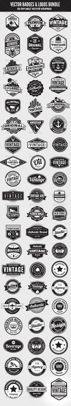 Web Elements - 60 Badges and Logos Bundle | GraphicRiver