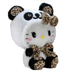 "BIG Hello Kitty Panda Plush Doll ~ 14"" Leopard White----want want want~cg"