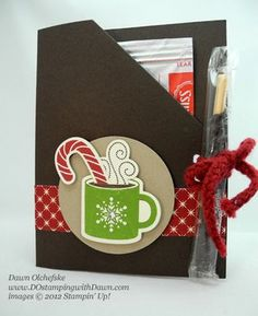 stampin up, dostamping, dawn olchefske, demonstrator,scentsational season bundle. cocoa packet holder - pattern for seed packet? Christmas Paper Crafts, 3d Christmas, Holiday Crafts, Craft Show Ideas, Winter Cards, Xmas Cards, Greeting Cards, Creative Cards, Craft Fairs