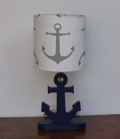 Handmade Medium Grey Anchor/Nautical Theme Drum by PerrelleDesigns, $40.00 Anchor Room, Anchor Nursery, Anchor Bathroom, Baby Boy Rooms, Baby Boy Nurseries, Baby Room, Nautical Baby, Nautical Theme, Nautical Nursery Decor