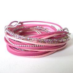 pink leather wrap bracelet bohemian wrap leather by jcudesigns, £20.00