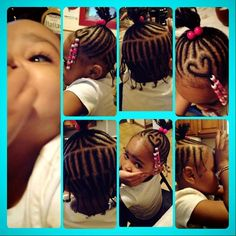 Cornrows with a little heart design on the side. Lil Girl Hairstyles Braids, Toddler Braided Hairstyles, Toddler Braids, Valentine's Day Hairstyles, Children Hairstyles, Girls Natural Hairstyles, Hair Dos For Kids, Braids For Black Kids, Little Girl Braids