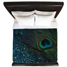 Glittery Aqua Peacock King Duvet.  Fun peacock feather bird design.