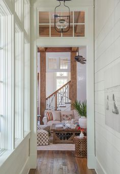 Warm White Shiplap Walls Painted in Benjamin Moore White Dove. Interiors by Courtney Dickey and T. Interior Paint Colors, Gray Interior, Luxury Interior Design, Modern Interior, Interior Painting, Interior Door, White Shiplap Wall, Transom Windows, Benjamin Moore