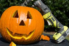 I'm always looking for new and different uses for my Ryobi tools and with Halloween quickly approaching, I got an idea! This past weekend my family and I carved pumpkins with our Ryobi Job Plus! It was so much fun! We had lots of pumpkins to do (6 to be exact) so we liked the run-time of the 18v Ryobi batteries. As a quick tip -the wood/metal cutting blade works the best for a traditional jack-o-lantern face.