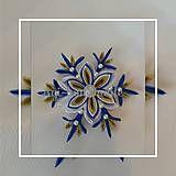 Dekorácie - vianočná vločka kanzashi ,, modré zlato ,, - 7347809_