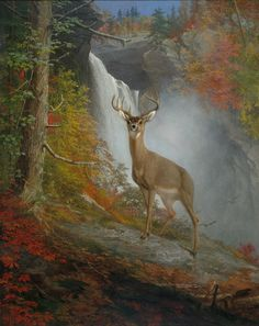 A deer in the forest by William Holbrook Beard (1823-1900)
