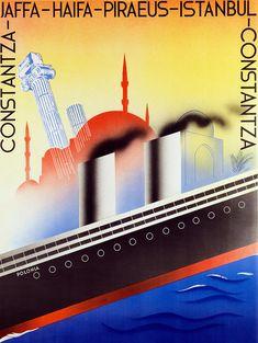 Polish Palestine Line, c.1933, Artist: Zygmunt Glinicki (1898-1940). Publisher: Gydnia-America Shipping Lines, Ltd. (GAL). Poster shows Polish ocean liner SS Polonia. GAL's Palestine Line operated 1933-1938.