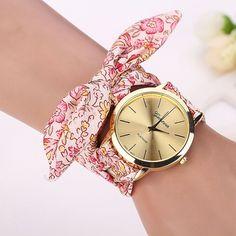 Montre 2016 Vogue Floral Strap Wristwatch Women's Jacquard Cloth Quartz Watch Women Geneva Bracelet Watches Relogio Feminino