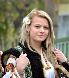 Romanian girl dressed in traditional clothes