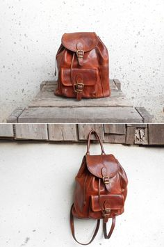 Vintage Distressed Leather Backpack Purse   Discount sites, Mk ...