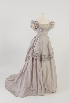 One of my favourites! Stunning light purple silk fringed dress, 1871 currently being admired at the Study Facilities!