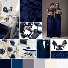 Wedding Color Palette Winter Wedding Navy Midnight Blue Silver White Glam Modern Chic by Go! Bespoke