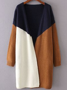 Navy Color Block Collarless Drop Shoulder Cardigan