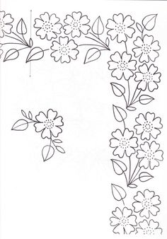 pattern for Bauernmalerei Border Embroidery, Hand Embroidery Patterns, Applique Patterns, Vintage Embroidery, Ribbon Embroidery, Flower Patterns, Cross Stitch Embroidery, Machine Embroidery, Simple Embroidery