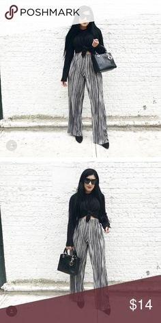 HIGH WAIST WIDE LEG PLEATED PANT ▪️Rainbow Shops Brand                                                         ▪️Worn ONCE                                                                                                                 ▪️Great Condition                                                                ▪️Stretch waistband - Silver/Grey/Black color                                                       ▪️Wideleg - Pleated…