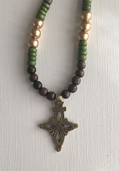 Grey Gold and Green Beaded Necklace with Ethiopian by poppyvail