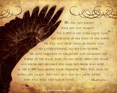 Isaiah 40 — On Wings of Eagles - Scripture Art - Bible Verse Art - Christian Gift - Christian Art - Scripture Wall Art - Inspirational Art - Inspirational Quote - Religious Home Decor - Christian Home Decor - Motivational Quote - Religious Gift - Pastor Gift - Church Decor - View more Inspirational art and be encouraged by Life Verse Design