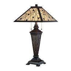 lite-source - Table Lamp, Dark Bronze and Tiffany Shade, E27 CFL 13Wx2 - Table Lamps