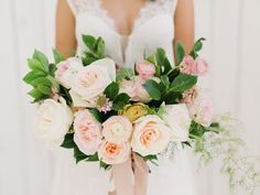 Photography : Tenth & Grace | Floral Design : Everly Alaine Florals Read More on SMP: http://www.stylemepretty.com/2016/01/01/pantone-rose-quartz-bridal-inspiration-shoot/