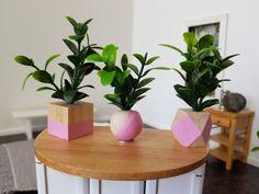 Set of 3 Pink Dipped Wooden Pot Faux Plant Thing 1, Faux Plants, Painting Patterns, Dollhouse Miniatures, Planter Pots, Shapes, Pink, Fake Plants, Artificial Plants